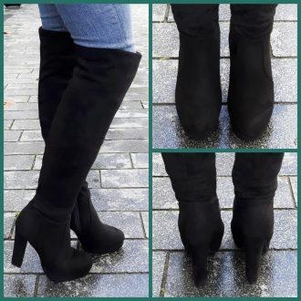 Zwarte overknee laarzen met blokhak en ronde neus | SILHOUETTE