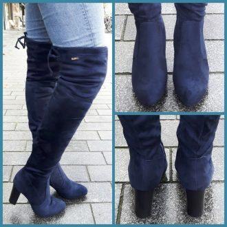 Over de knie laarzen in blauw met ronde neus en blokhak   SILHOUETTE