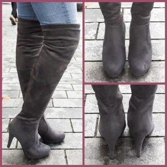 Grijze overknee laarzen met ronde neus en naaldhakken