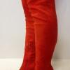 Rode overkneelaarzen met ronde neus, plateau en naaldhak