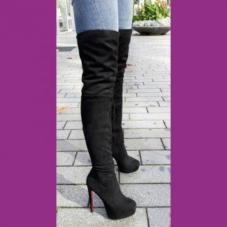 Zwarte overknee laarzen met rode zool en naaldhakken   SILHOUETTE