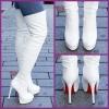 Witte overknee laarzen met rode zool en naaldhakken | SILHOUETTE