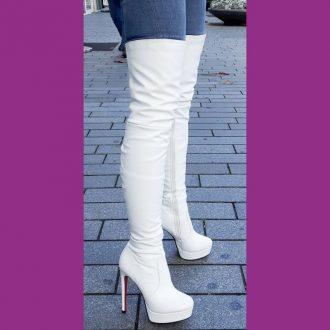 Witte overknee laarzen met rode zool en naaldhakken   SILHOUETTE