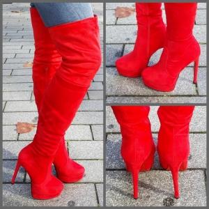 Rode overknee laarzen met rode zool en naaldhakken | SILHOUETTE