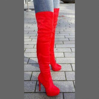 Rode overknee laarzen met rode zool en naaldhakken   SILHOUETTE