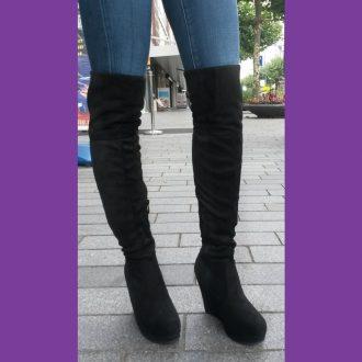 Sleehak overkneelaarzen in zwart met veter achter | Silhouette | Rotterdam