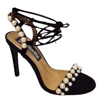 Lace up sandaaltjes met parels en naaldhakken | Hoge Hakken