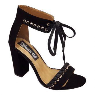 Open zwarte schoenen voor brede voeten met veters en blokhak
