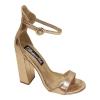 Sandaaltjes in rosé goud met hooggesloten hiel en stevige hak   Silhouette