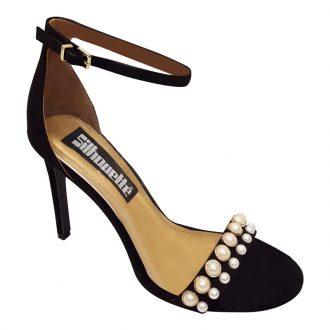 Zwarte open sandaaltjes met parels voor en naaldhakken | Hoge Hakken