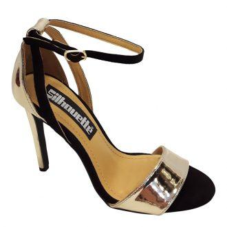 Hoge hakken in zwart met goud met brede band over de voet | SILHOUETTE
