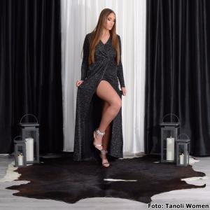 Zilveren hoge hakken met grote stenen en naaldhakken | Party Heels