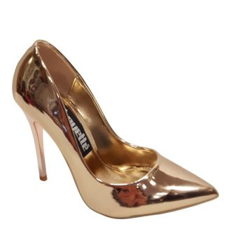 Metallic pumps in rosé goud met hoge stiletto hak | Hoge Hakken