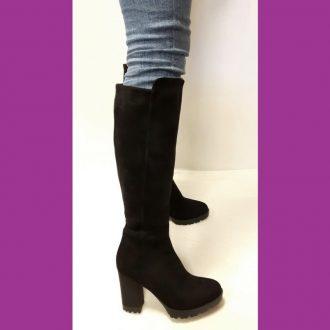 Zwarte laarzen tot de knie met ronde neus en stevige hak | SILHOUETTE