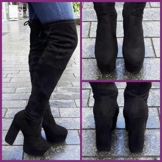Zwarte overknee laarzen met ronde neus en blokhak | SILHOUETTE