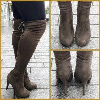 Korte kaki overknees met ronde neus | Hoge laars voor korte benen