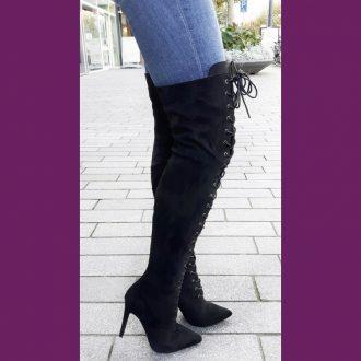 Zwarte puntige stretch overknee laarzen met veters voor en naaldhakken