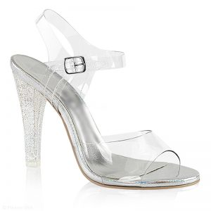 Doorzichtige posing shoe met bredere glazen glitterhak | SILHOUETTE