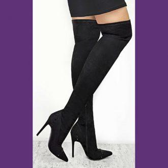Overknee laarzen met studs | Stretch overknees | Silhouette