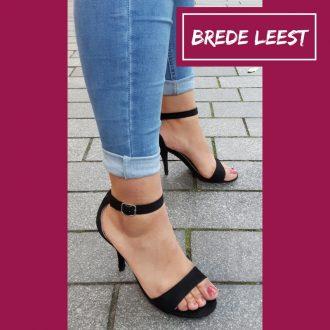 Sandaaltjes voor brede voeten met naaldhak in zwart