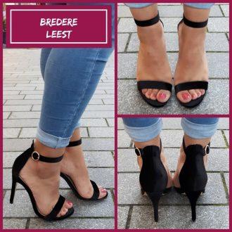 Open schoenen voor bredere voeten met naaldhak in zwart