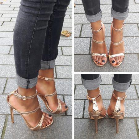 Rose goud open schoentje met smalle bandjes over de voet | Silhouette