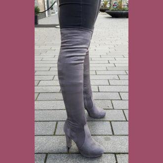 Grijze overknee laarzen met blokhak en ronde neus | SILHOUETTE
