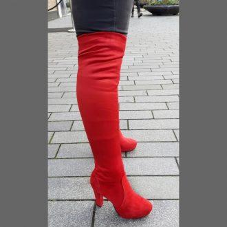 Rode overknee laarzen met blokhak en ronde neus | SILHOUETTE