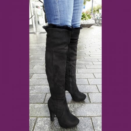 Zwarte hoge laarzen met bont | Zwarte bontlaarzen | Hoge hakken