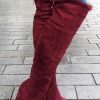 Warme overkneelaarzen | Berry bontlaarzen | Wijn rode hoge hakken