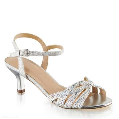 Gala sandaaltjes | Zilveren open schoentjes | Feest schoentjes lage hak