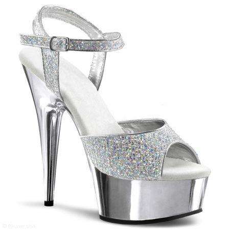 Dansschoenen in zilver met glitters | Glitterheels | Delight-609 zilver