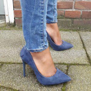 Blauwe pumps met puntneus en hoge stiletto hak | Hoge Hakken