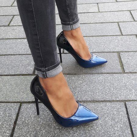 Two tone pump of tweekleurige pump in blauw met zwart | Hoge hakken