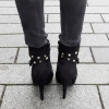 Zwarte laarsjes met studs, ronde neus en naaldhakken | Silhouette