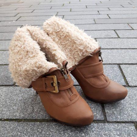 Cognac bontlaarzen met hoge hak en ritssluiting voor | Hoge hakken