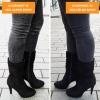 Driekwart laarzen met ronde neus en naaldhakken in zwart | Silhouette