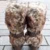 Bruine bontlaarzen met hoge hak en ronde neus | Silhouette