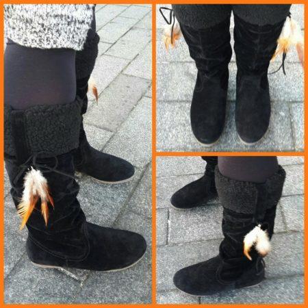 Zwarte platte indianenlaarzen met bontrand | Zwarte bontlaarzen