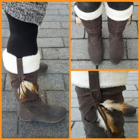 Grijze platte bontlaarzen type indianenlaarsjes | Grijze platte laarzen