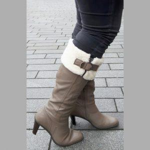 Grijze hoge laarzen met hakken | Grijze bontlaarzen | Silhouette