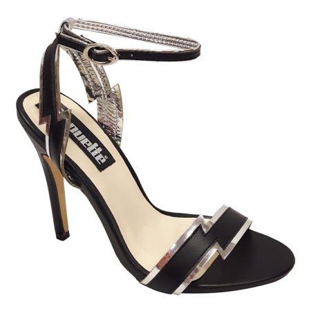 Sandaaltjes in zwart met zilver | Hoge hakken zwart met zilver | Silhouette