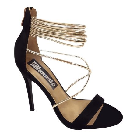 Open sandaaltjes in zwart met goud | Hoge hakken met spaghettibandjes