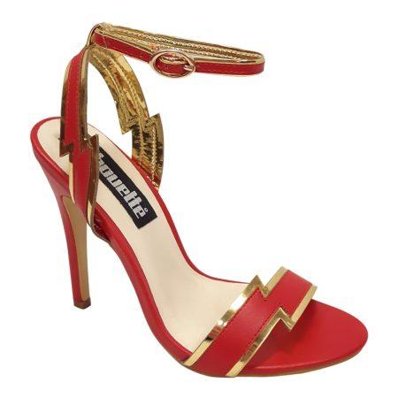 Superwoman hoge hakken | Sandaaltjes in rood met goud | High heels