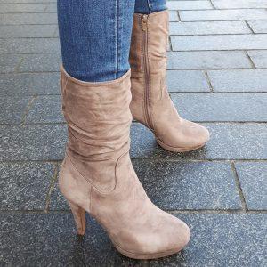 Beige driekwart laarzen met ronde neus en naaldhakken | Silhouette