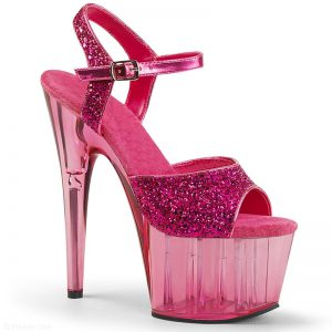 Roze glitter dansschoenen met doorzichtige plateau en hak | Silhouette