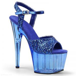 Blauwe glitter dansschoenen met doorzichtige plateau en hak | Silhouette