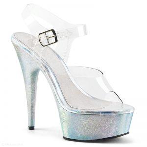 Doorzichtige dansschoenen met hologram glitter zool en hak |