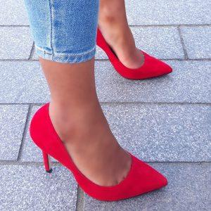 Rode suède pumps van echt leer met spitse neus en naaldhak | Silhouette