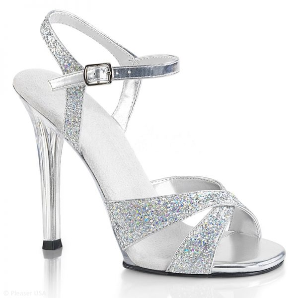 Poseerschoenen met zilveren glitters en doorzichtige naaldhakken | IFBB